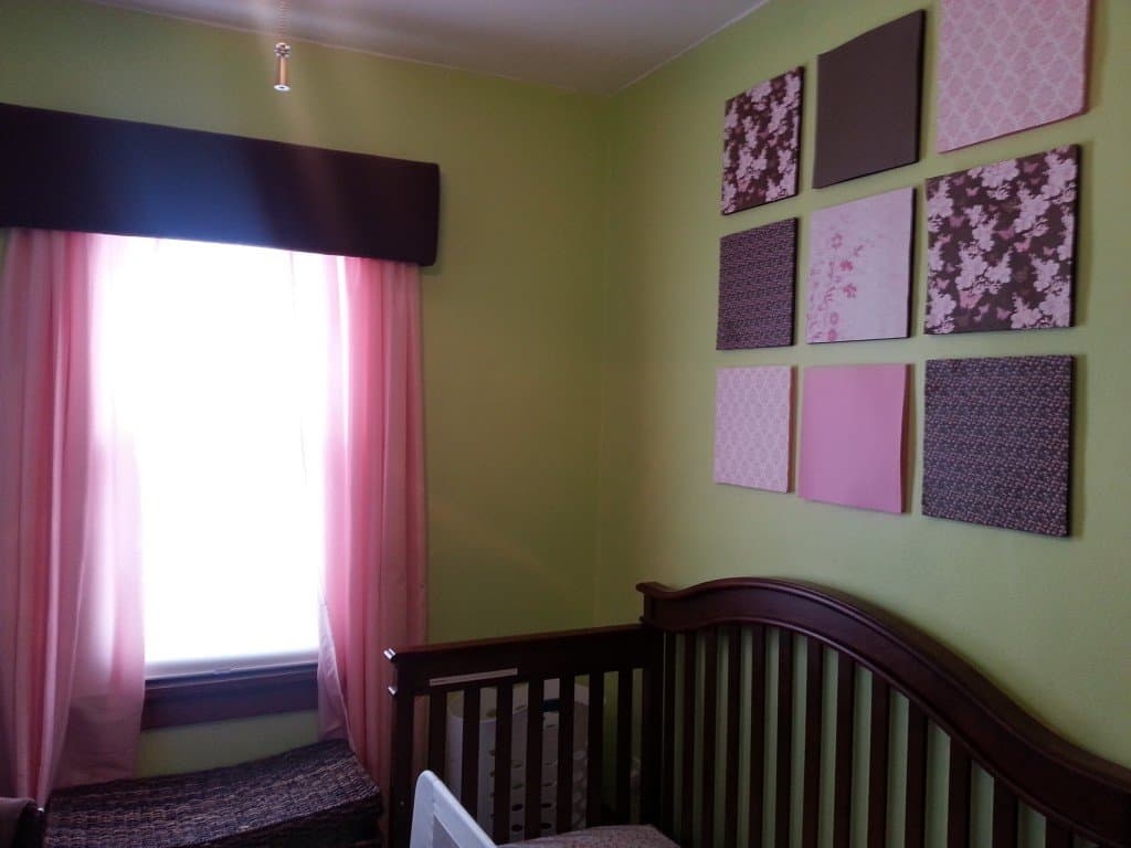 green pink and brown nursery bedroom