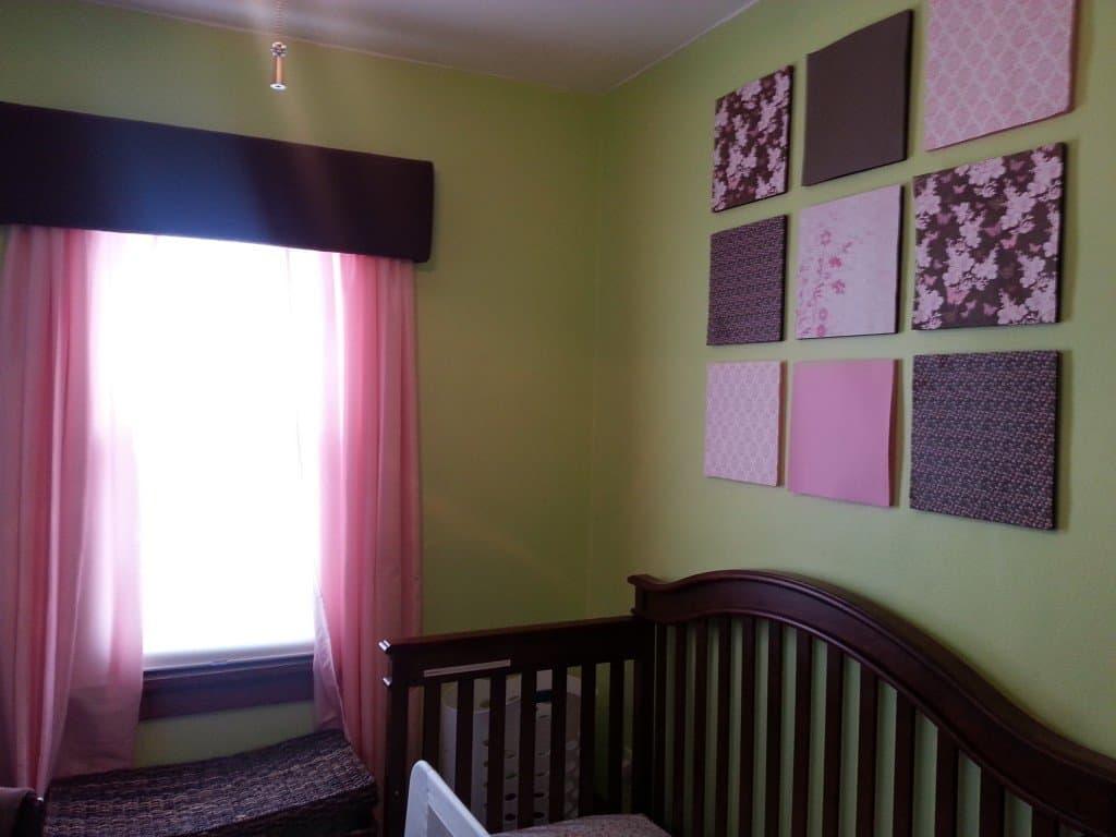 green pink and brown nursery bedroom