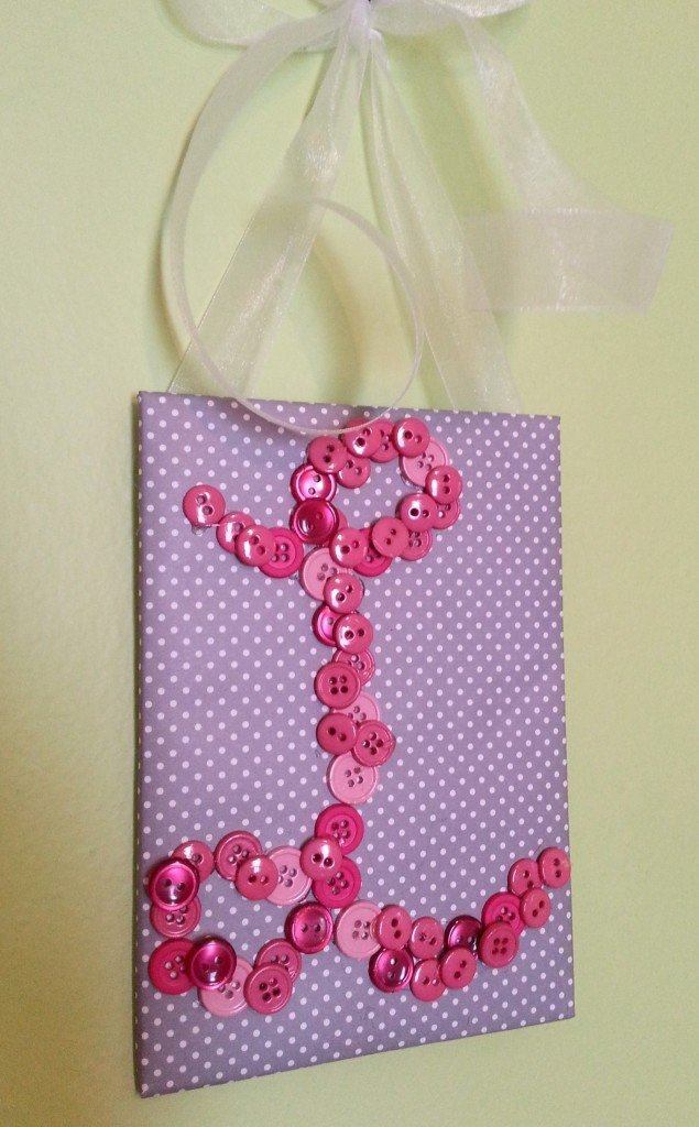 button monogram wall hanging