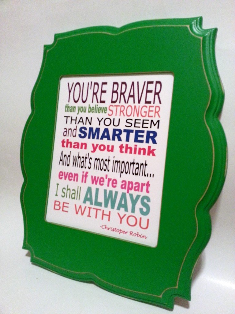 Winnie the Pooh framed typography print