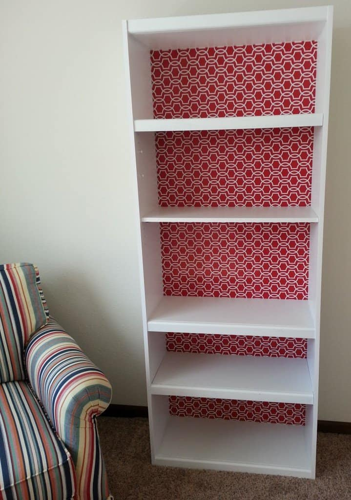 How to paint laminate furniture - finished painted and wrapped bookcase
