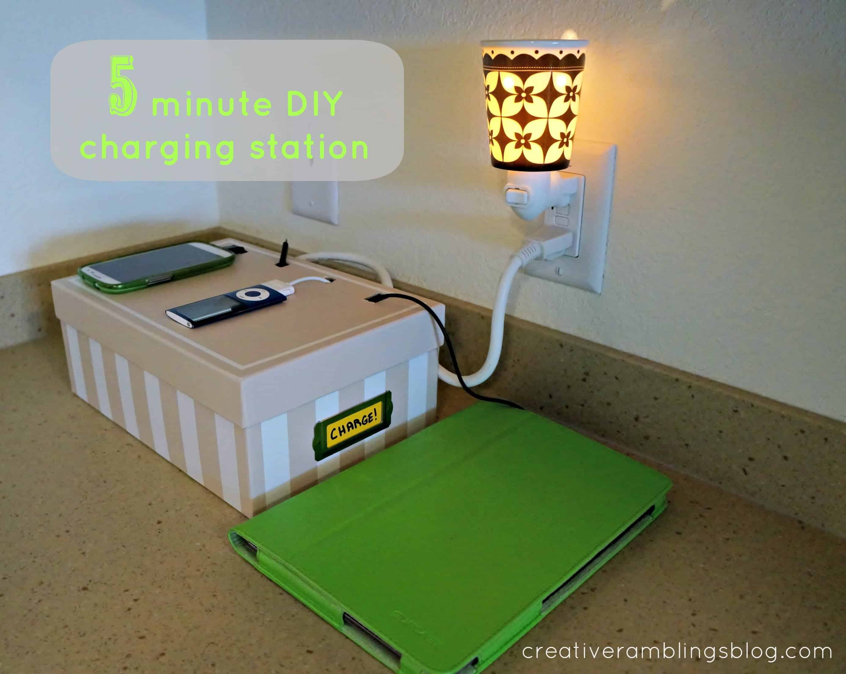 5 minute charging station creative ramblings Diy cell phone charging station