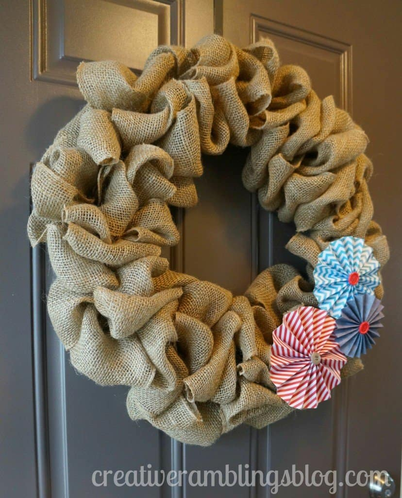 Burlap Wreath Tutorial with Patriotic pinwheels