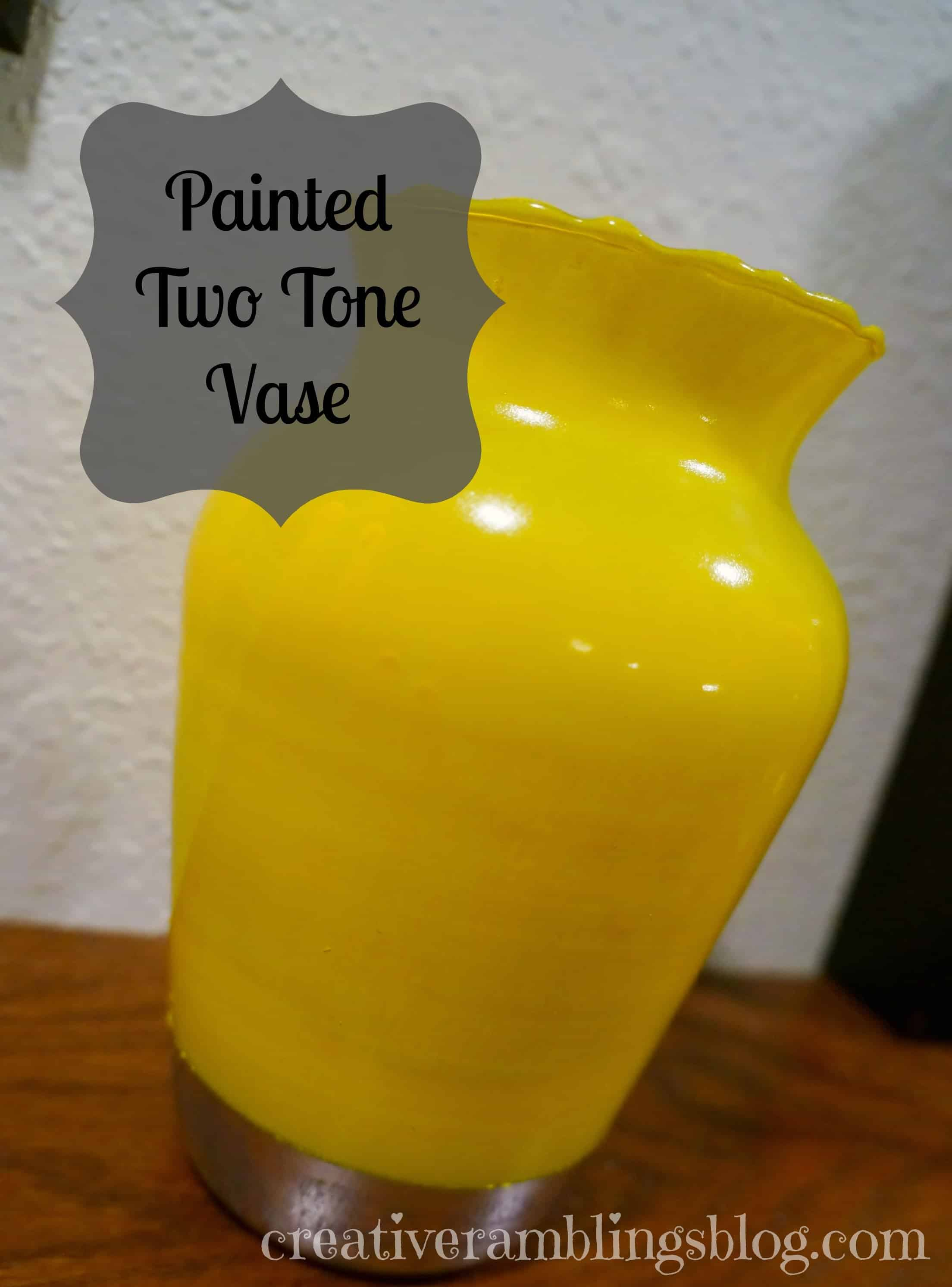 Painted 2 tone vase - yellow and gray