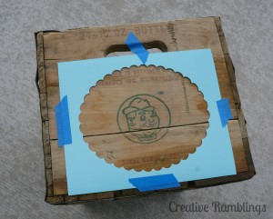 Vintage crate with stencil