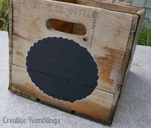 Vintage crate with chalkboard stencil