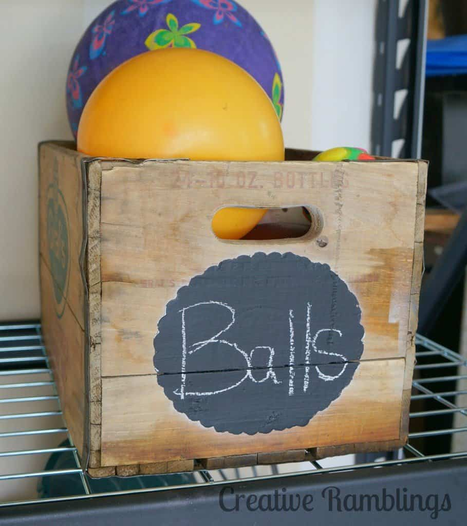 Vintage crate ball storage