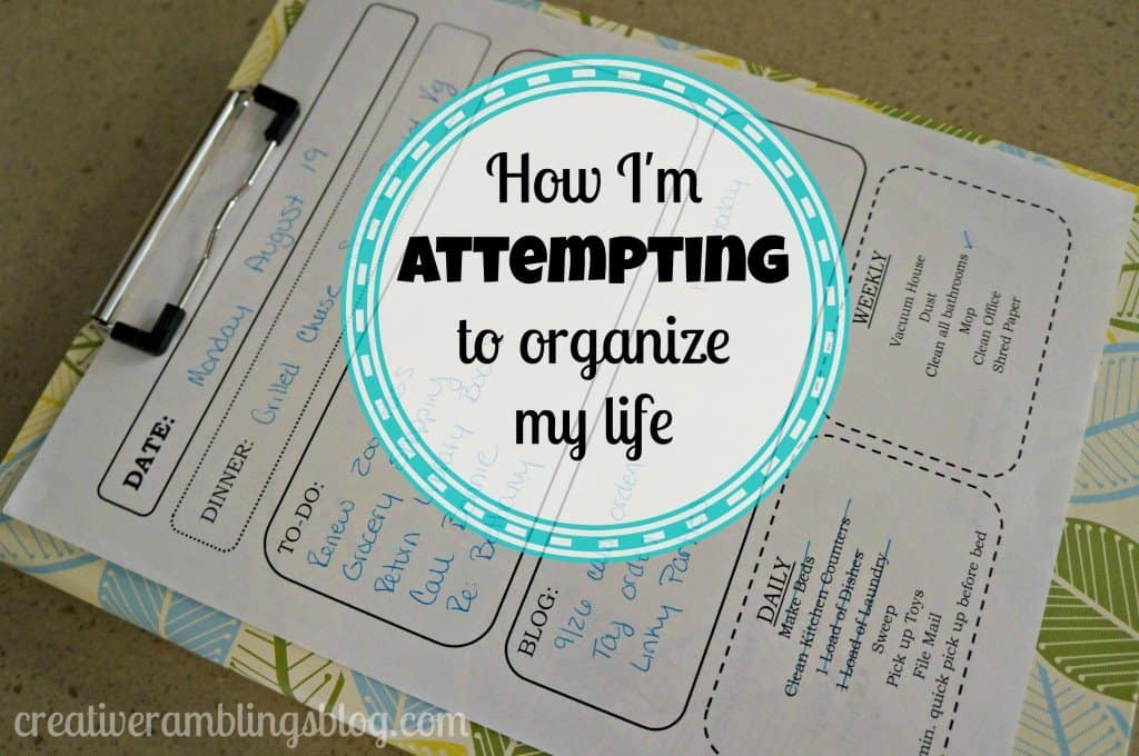 How I'm Attempting to organize my life - daily check list