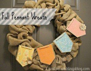Fall Pennant burlap wreath