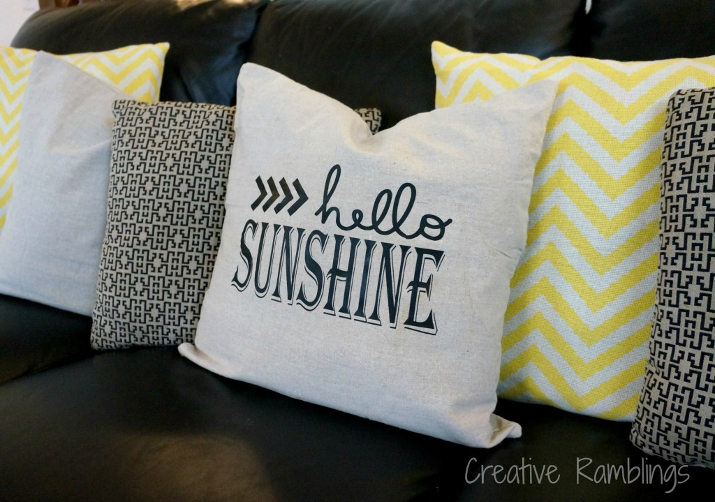 hello sunshine silhouette throw pillow