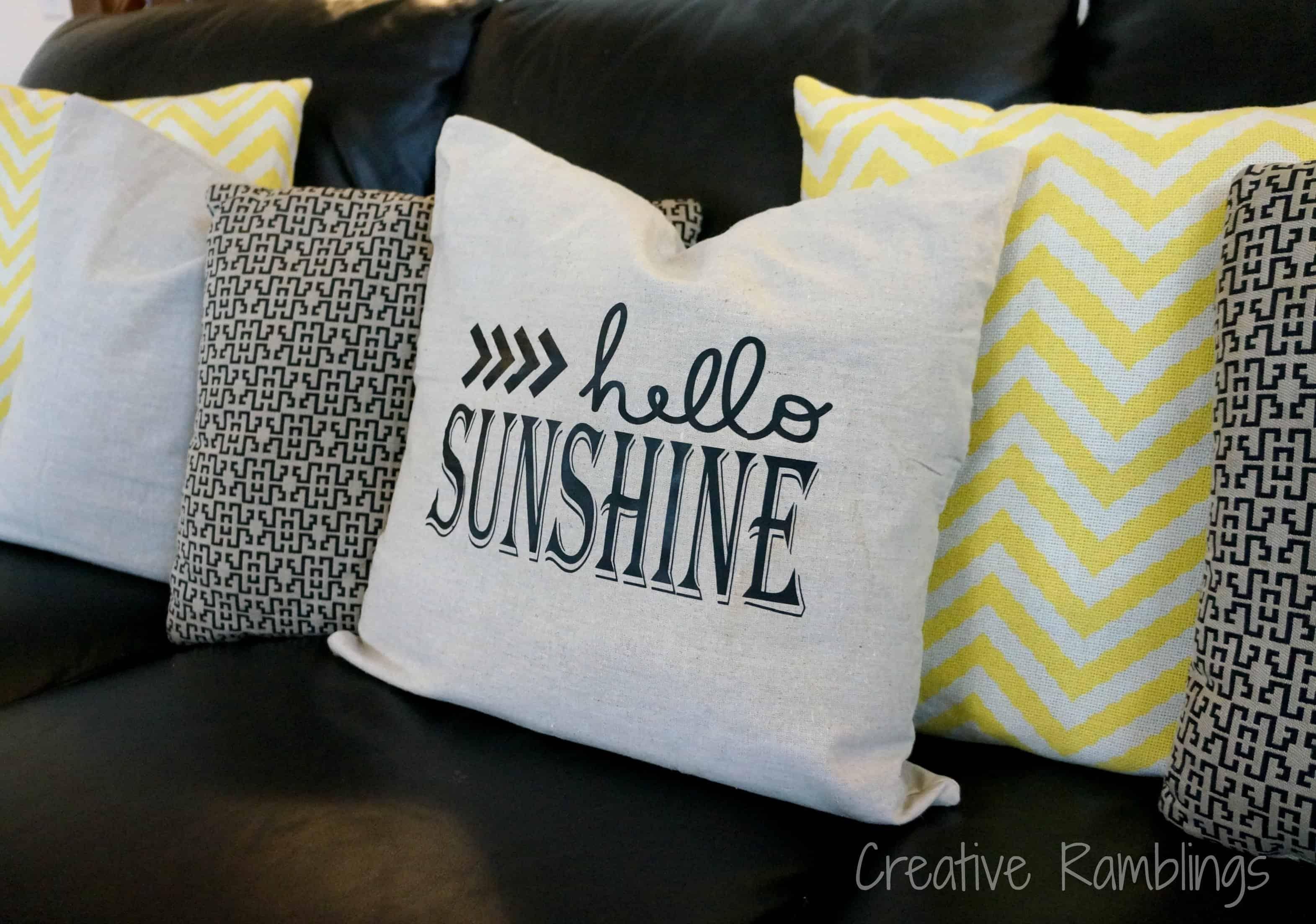 hello sunshine silhouette throw pillow