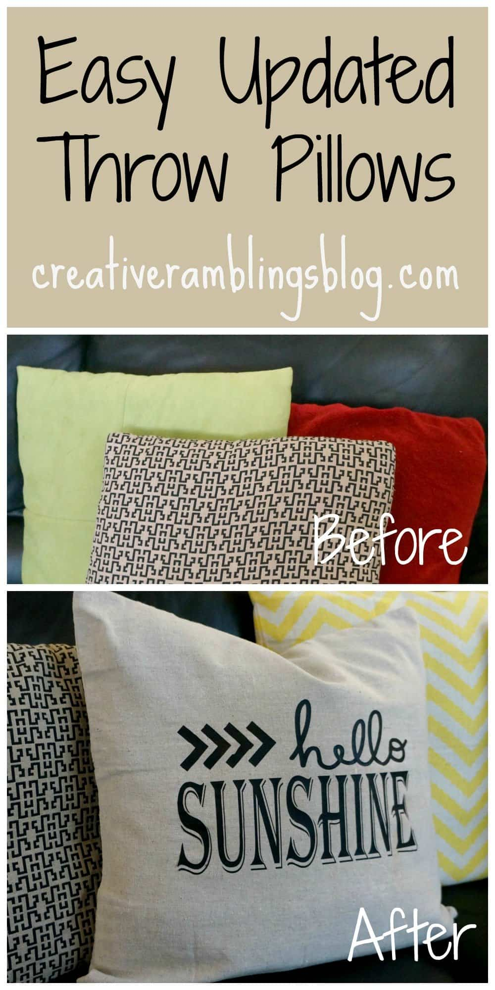 Easy updated throw pillows before and after