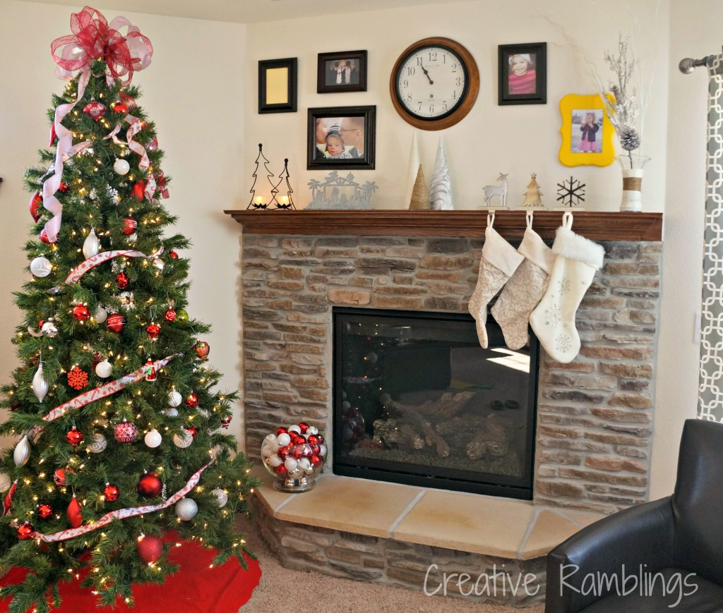 Winter white mantle with red and silver tree