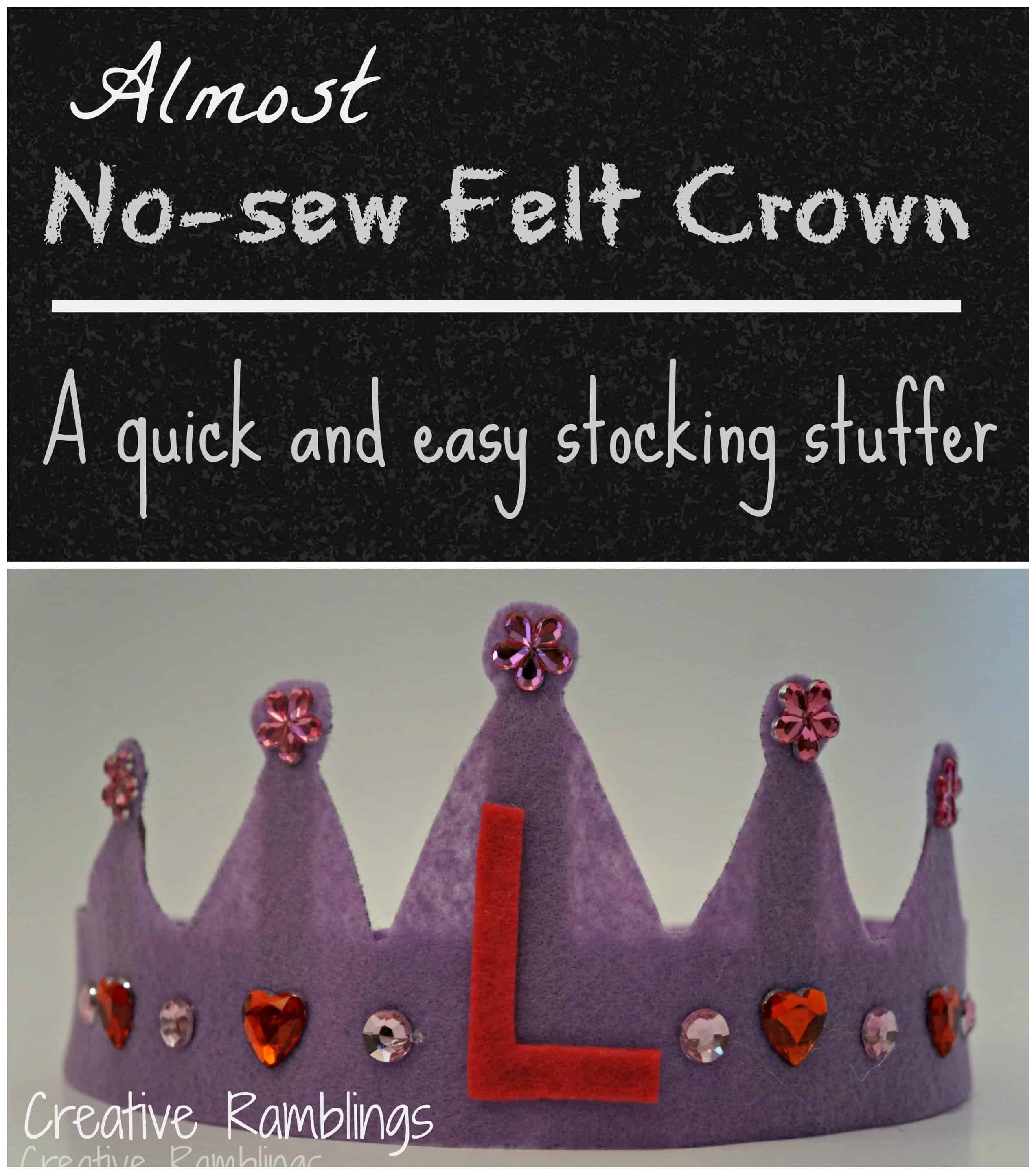 Almost no-sew felt crown - makes a great stocking stuffer