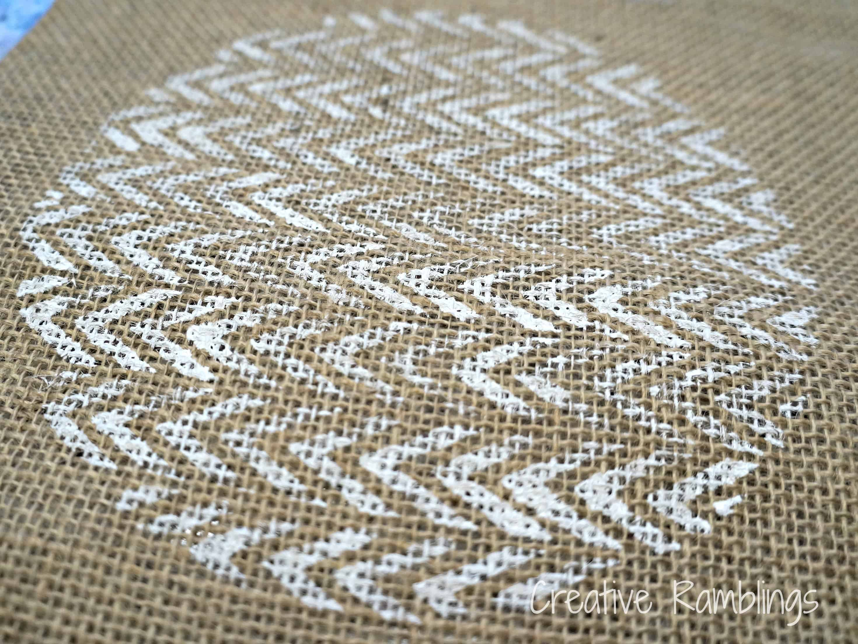 chevron painted circle on burlap