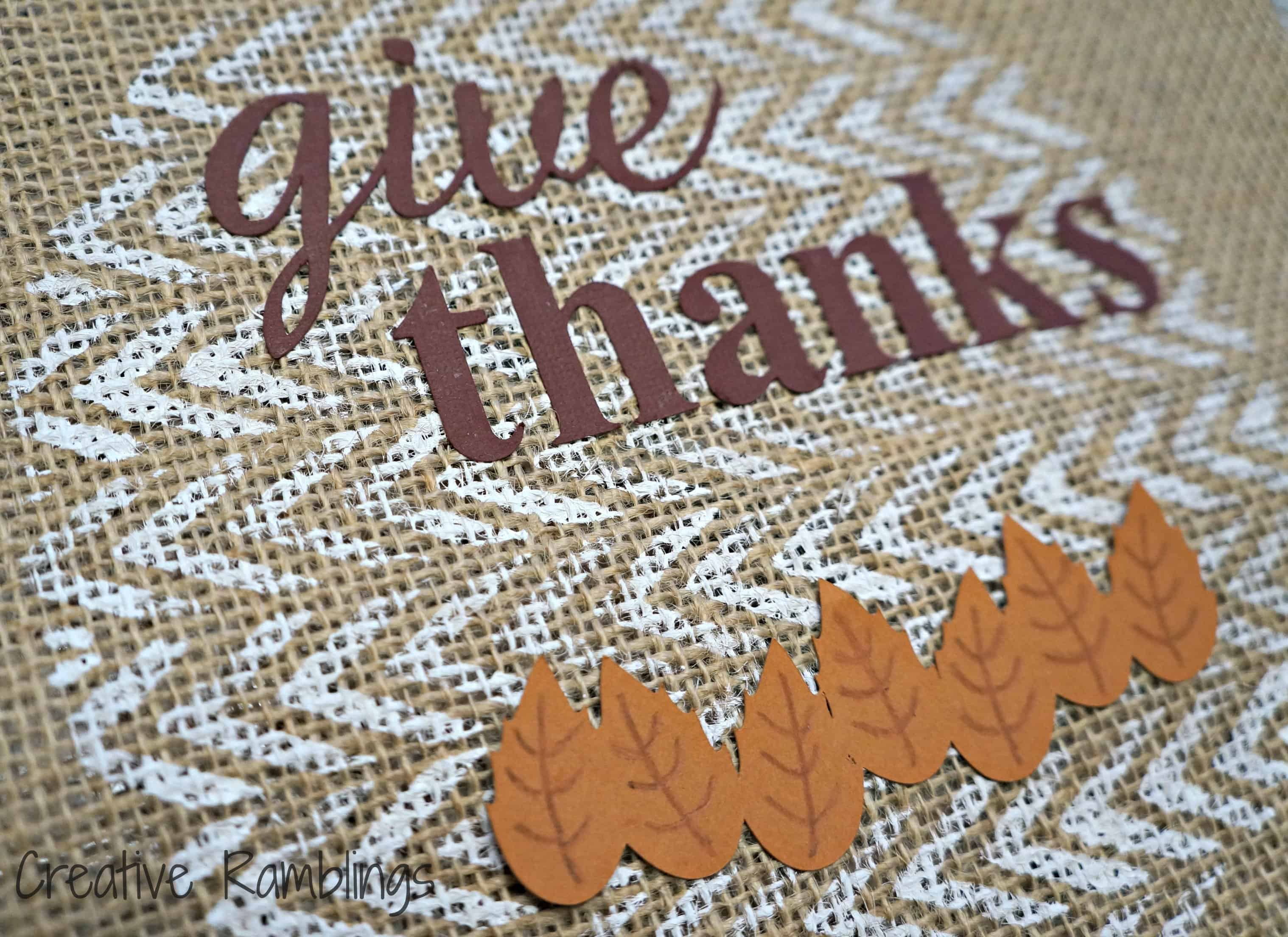 give thanks on painted burlap