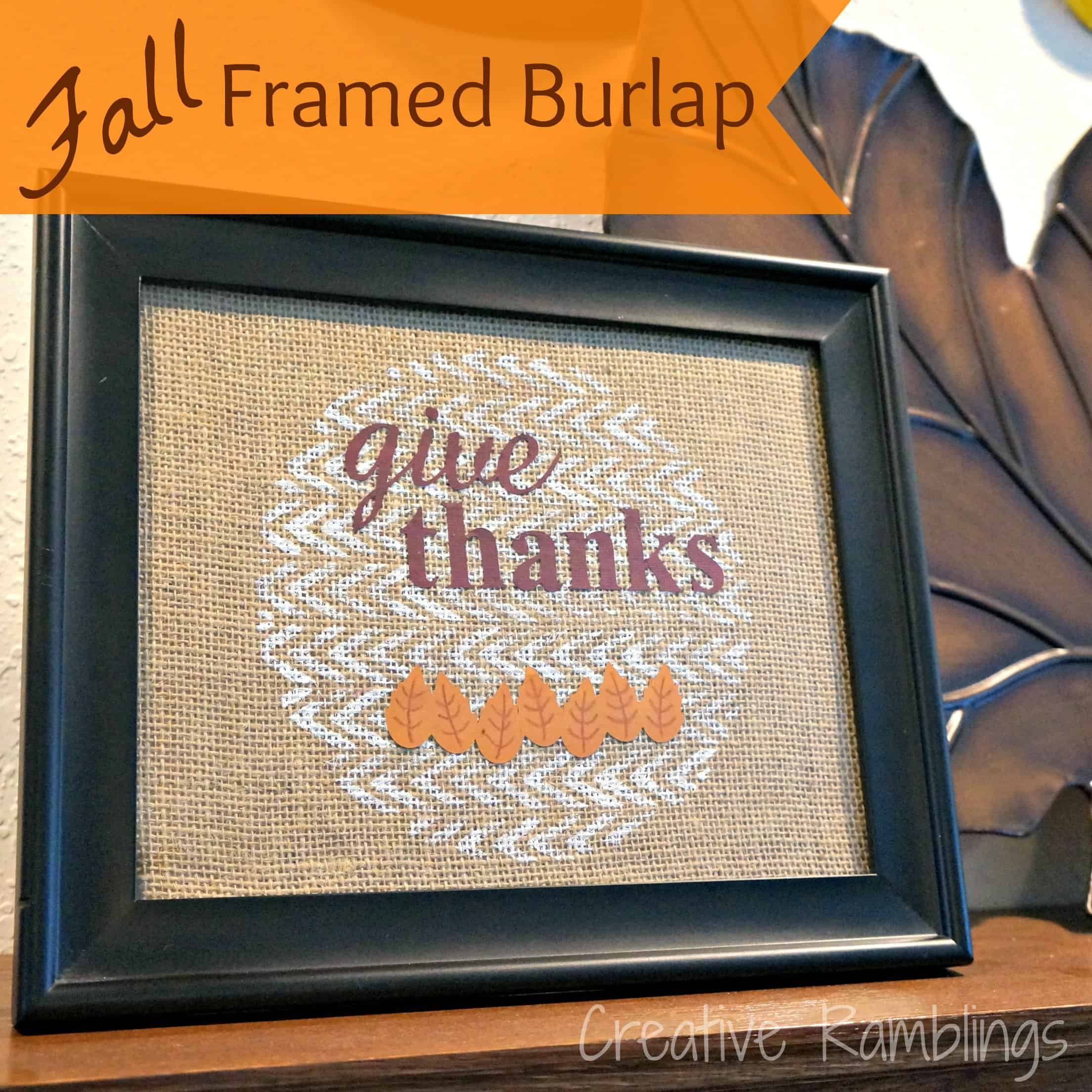 Fall Framed Burlap - give thanks on painted burlap