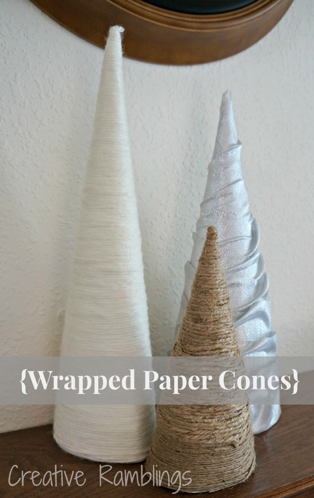 wrapped paper cones using paper board yarn, twine and ribbon.  Easy DIY project