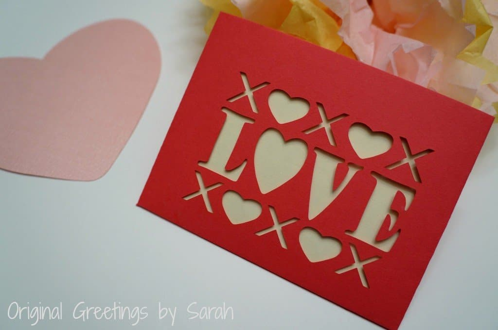 Love cut paper envelope
