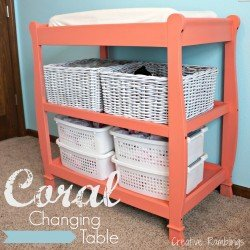 coral painted changing table