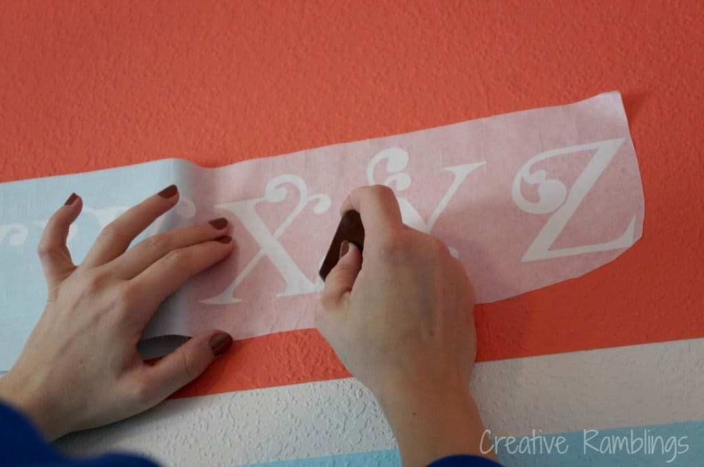 smoothing letters on wall