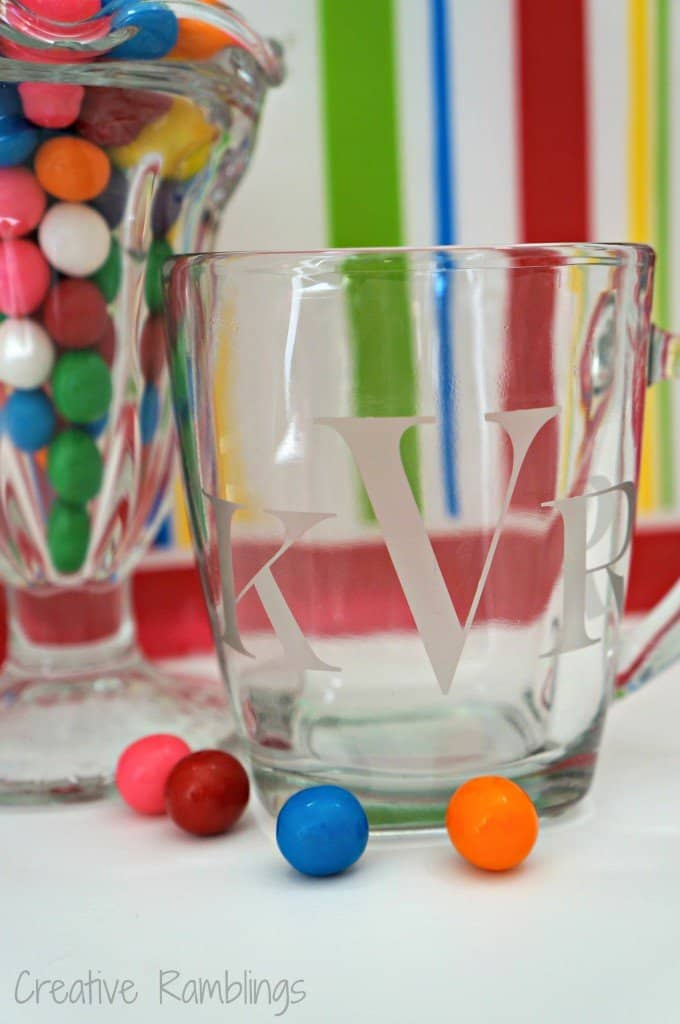 etched glass mug using a Silhouette, filled with gumballs for a simple sweet gift