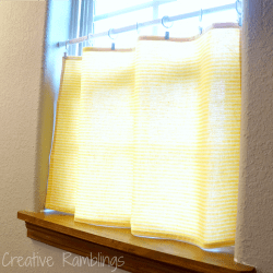 dish towel turned cafe curtain
