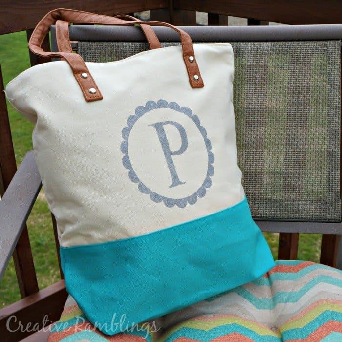 Monogrammed Tote Bag Gift Creative Ramblings