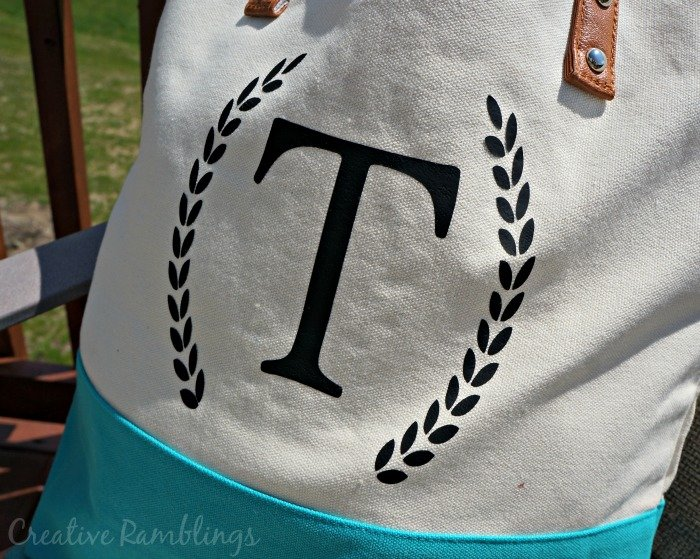 #Silhouette heat transfer vinyl monogram on canvas tote bag