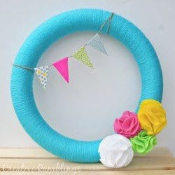 Bright Summer Wreath with Felt Flowers