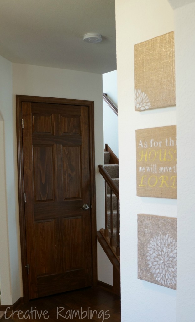 freezer paper stencil on burlap in foyer