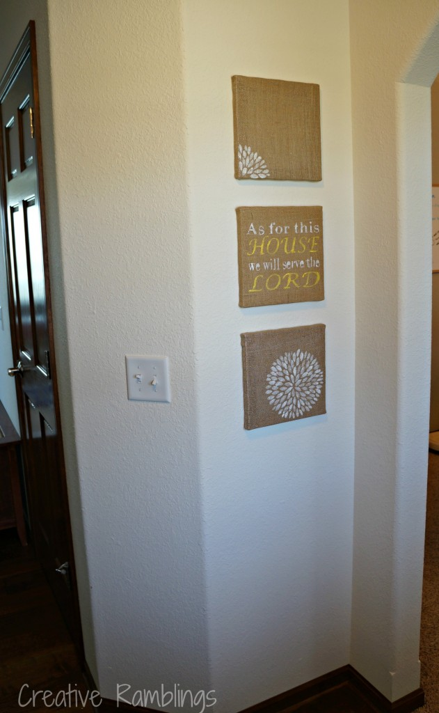 Stenciled Burlap Canvas for Rustic Decor Any Time of the Year