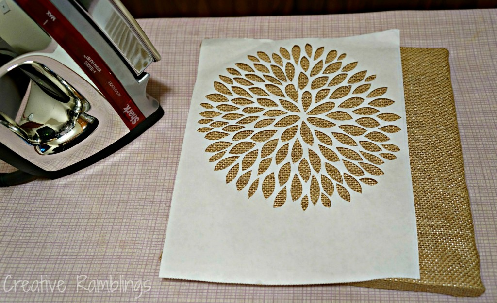 freezer paper ironed on burlap canvas