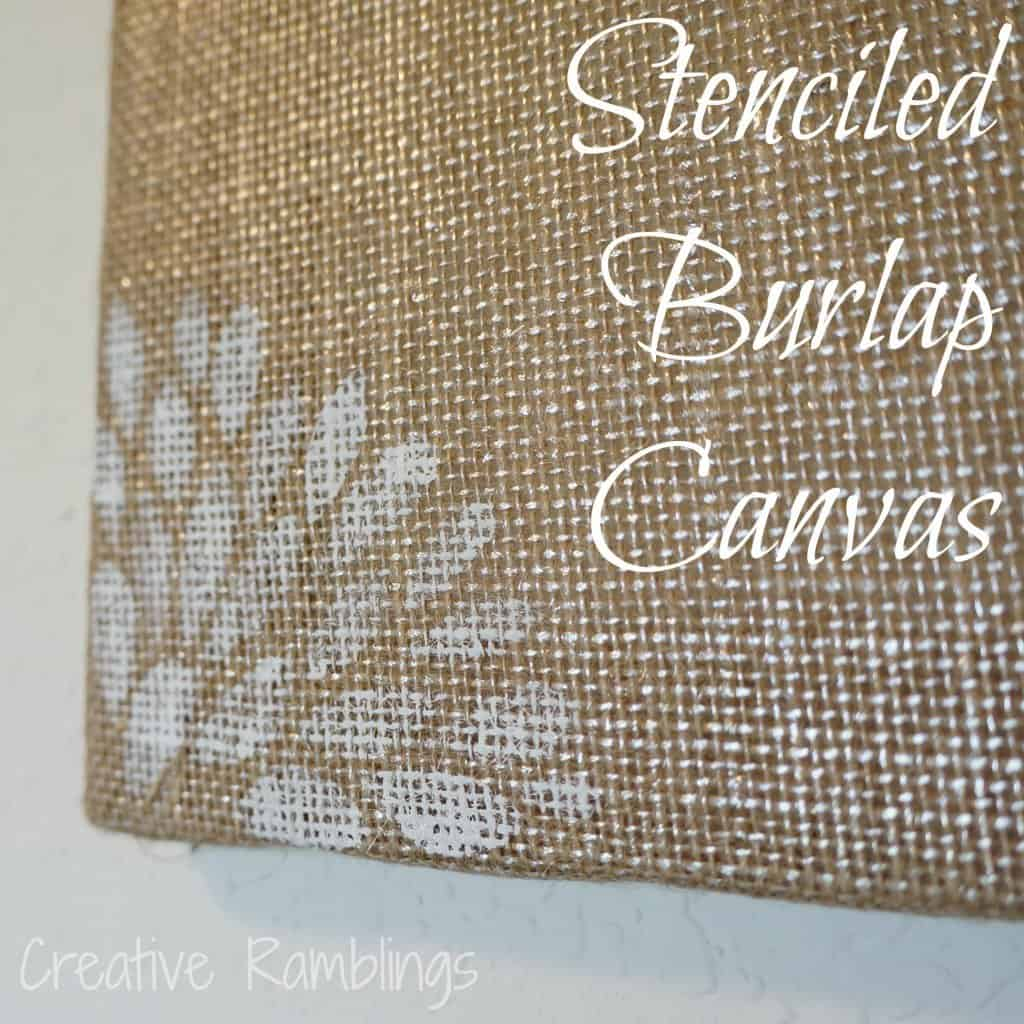 freezer paper stencil on burlap canvas