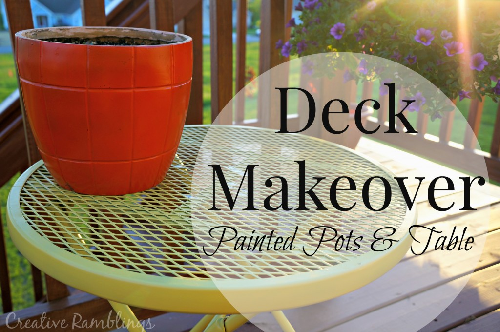 painted pots and table, a deck makeover