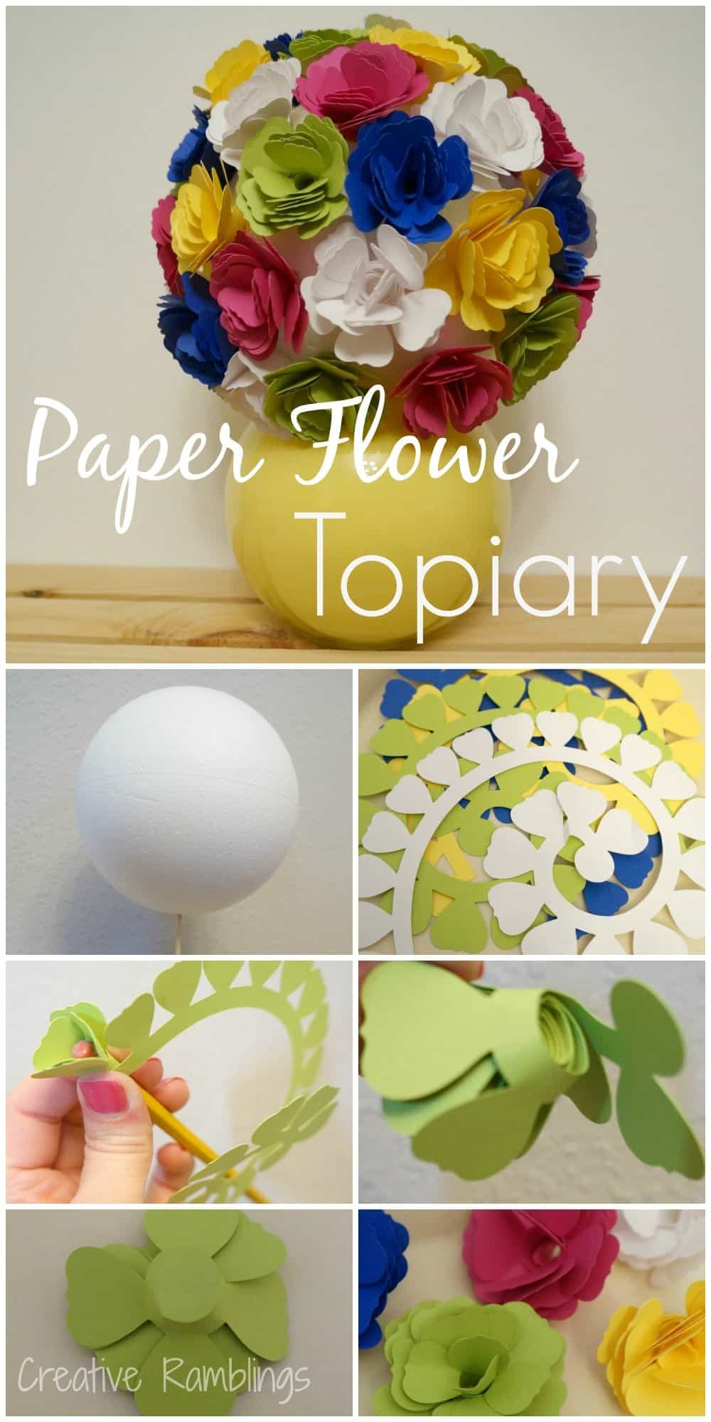 Paper flower topiary from creative ramblings weekend craft paper flower topiary step by step mightylinksfo