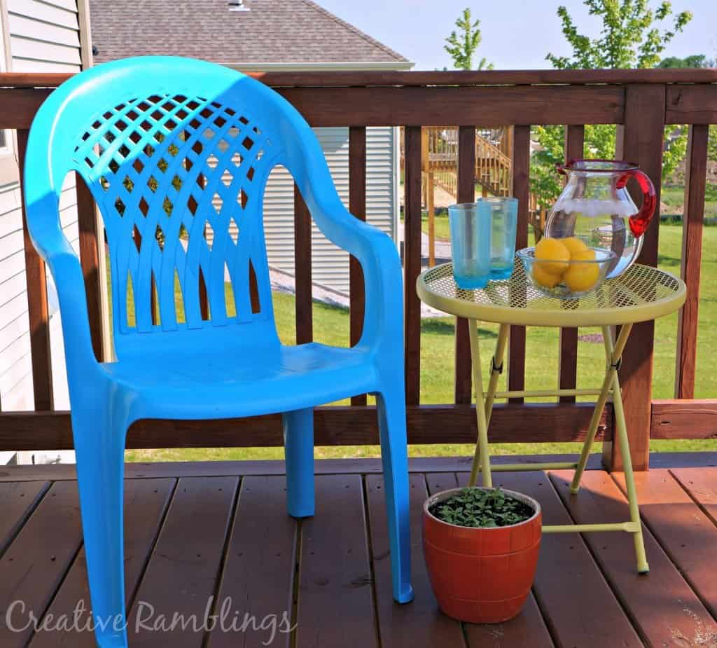 Painted plastic chairs