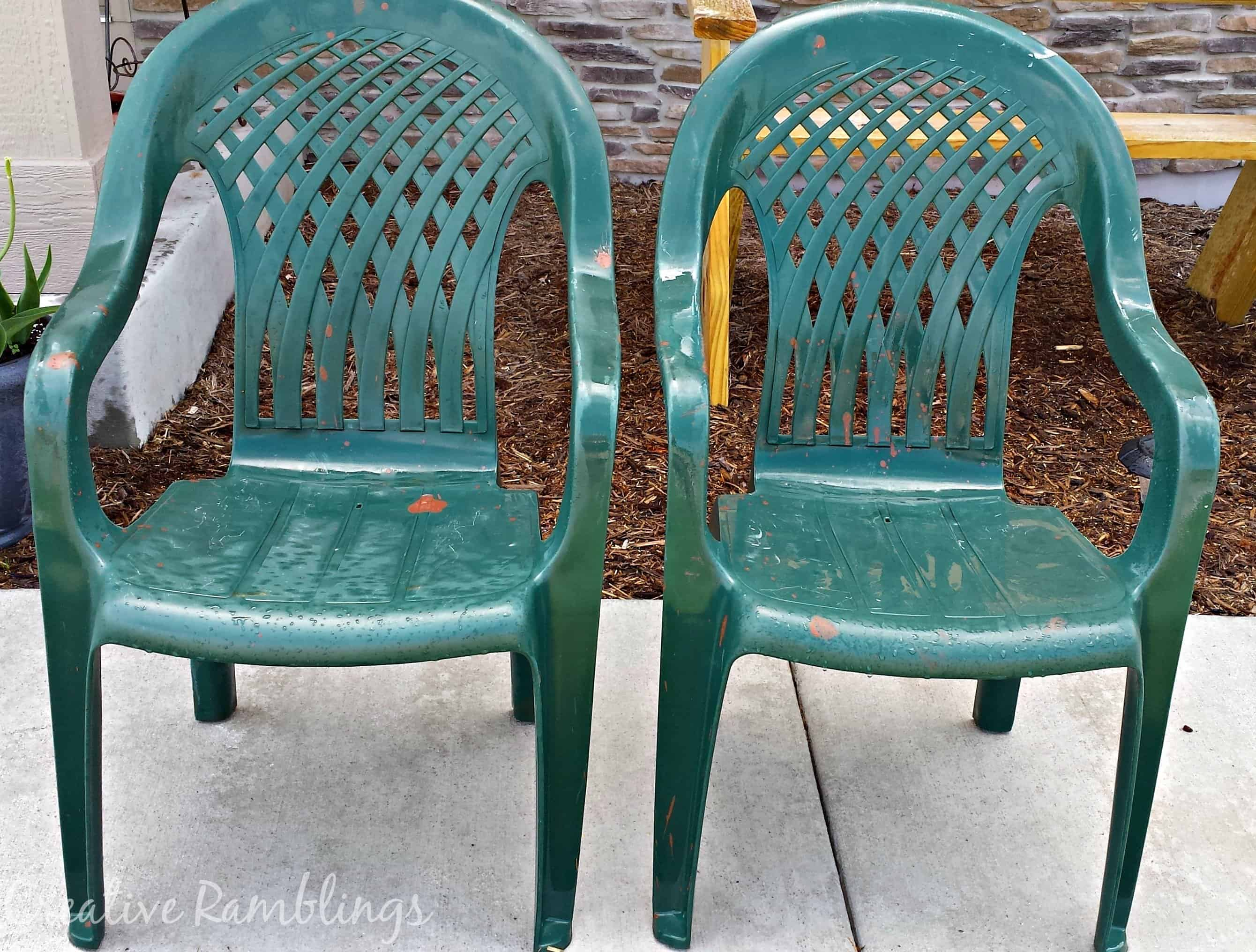 Deck Makeover Painted Plastic Chairs Creative Ramblings