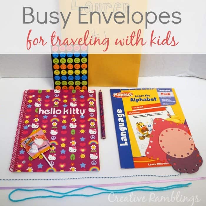 busy envelope for traveling with kids