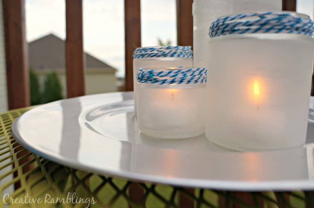 frosted glass jar lantern