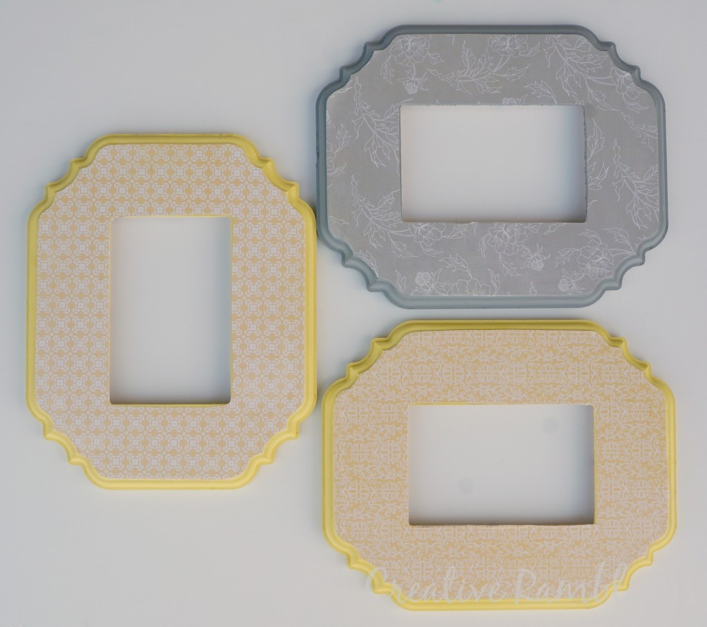 Painted and decorated scalloped frames with mod podge