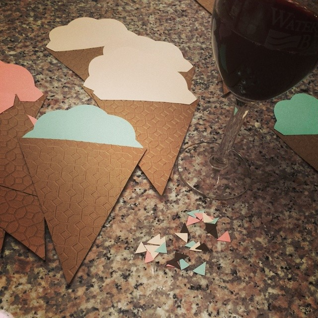 Working on custom orders tonight. Kind of loving the little scrap triangles, I'll be saving (hoarding) those for another project. #craftaddict #winehelpsmework #etsy #icecreamcone