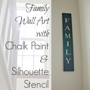 Family wall art with chalk paint and silhouette stencil