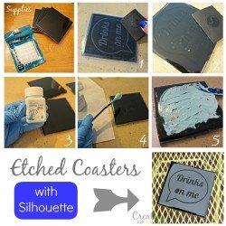 Creating etched glass coasters step by step with a #Silhouette