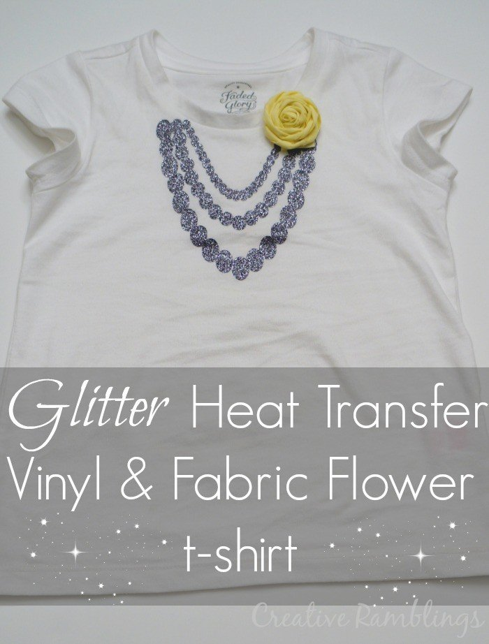 glitter heat transfer vinyl (htv) and fabric flower t-shirt