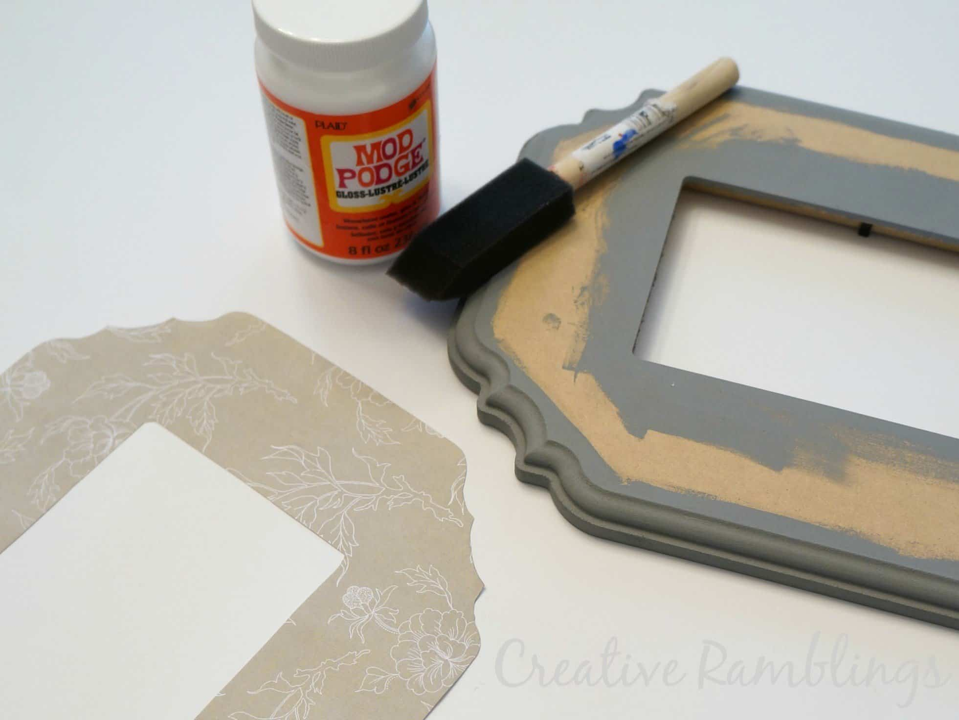 adhere paper to wood with mod podge
