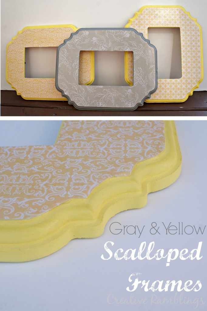 Gray and Yellow scalloped frame using paint and mod podge