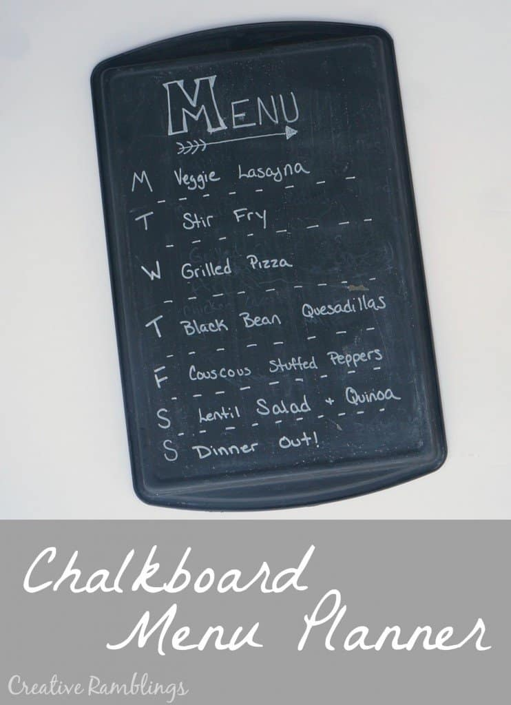 chakboard menu planner from a baking sheet