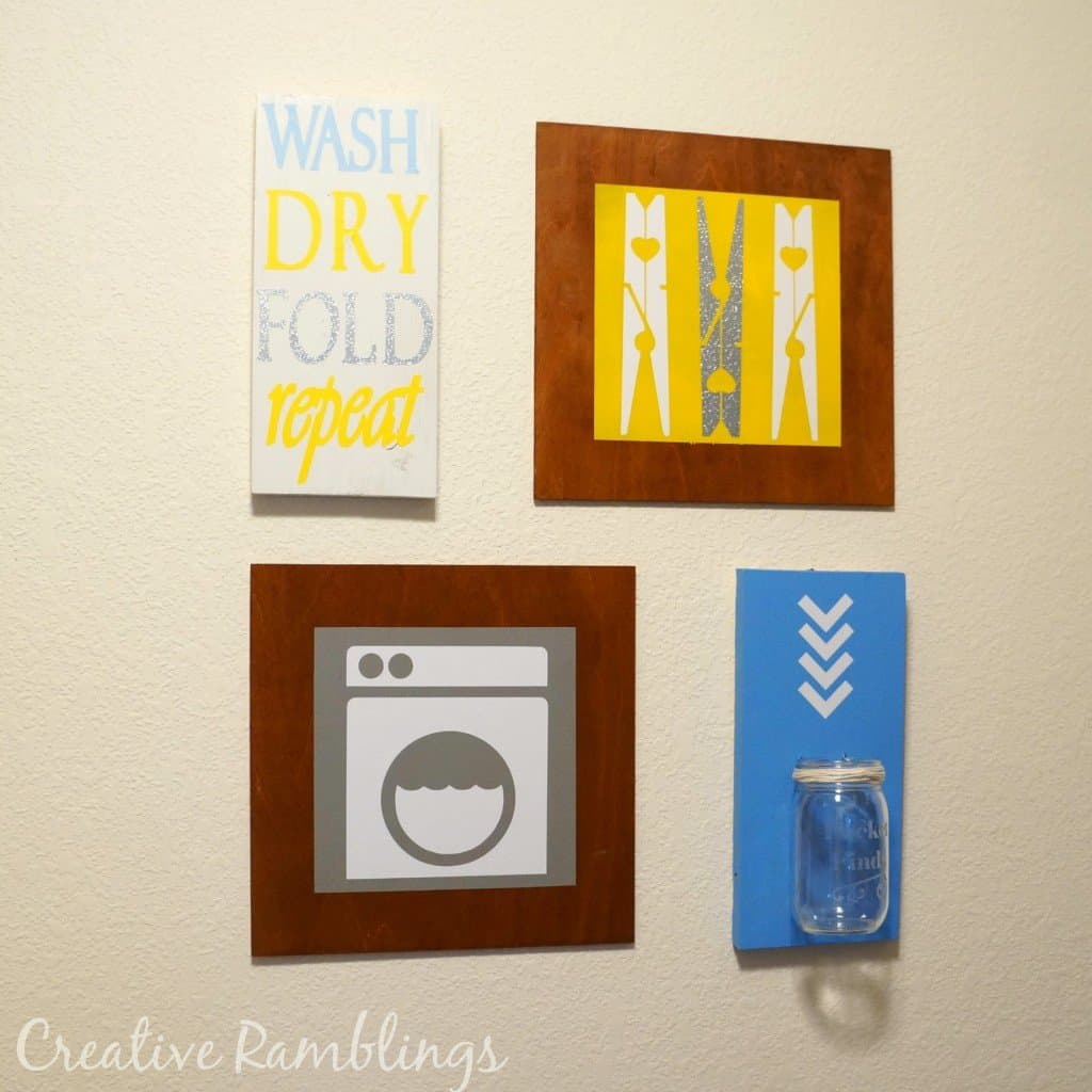 laundry room wood art using vinyl and paint