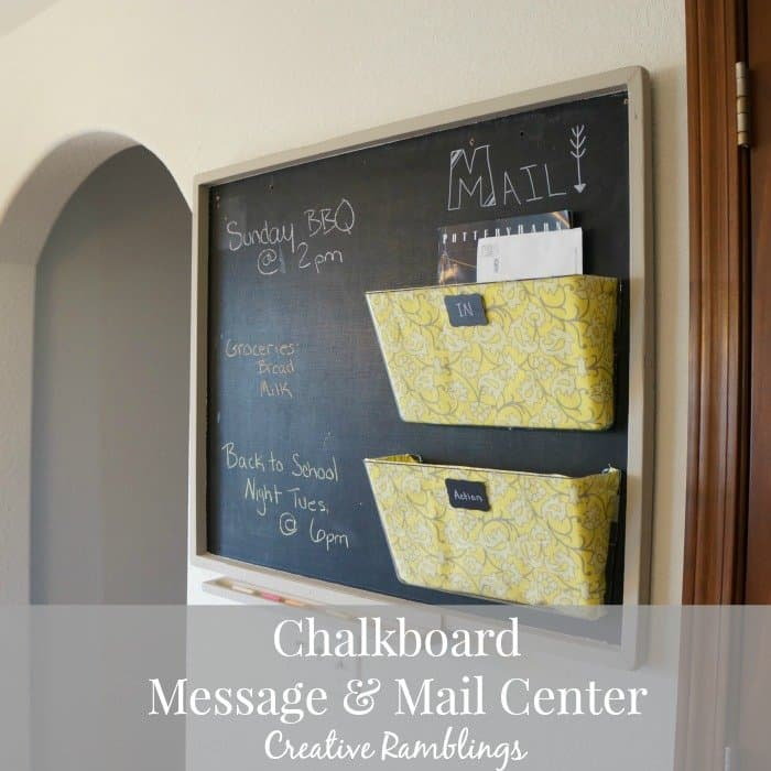 chalkboard message and mail center